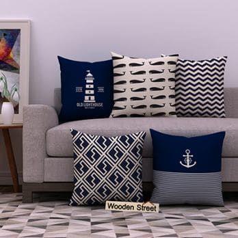 Nautical Blue Cushion Covers Set Of 5 Cushions On Sofa Cushions Online Cushion Covers