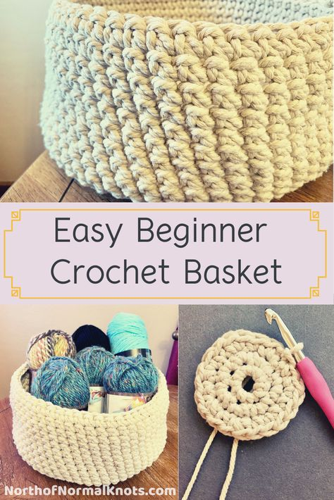 Use this free crochet pattern to make this quick, easy beginner crochet basket in no time! Great combination of macramé cord with crochet. Cute storage option or gift idea! # free crochet patterns for beginners Free Pattern Easy Beginner Crochet Basket Crochet Diy, Crochet Tutorial, Crochet Pattern Free, Crochet Simple, Crochet Basket Pattern, Knitting Patterns, Knit Basket, Crochet Baskets, Crochet Potholders