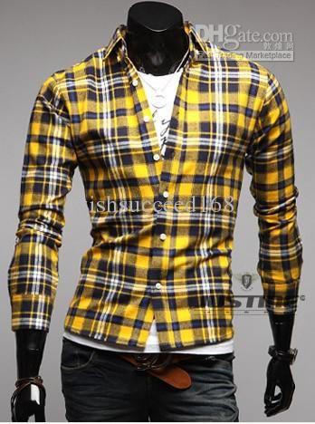 Men Cotton Shirts Dress Yellow Blue Stripe Plaid Thermal Flannel ...