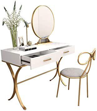 Penganguo Vanity Table Nordic Dressing Table Bedroom Princess And Chair Simple Color W Simple Dressing Table Dressing Table With Chair Dressing Table Vanity