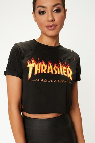 47ce64cb275f Monique Black Thrasher Ripped Crop Top in 2019 | Dayi | Thrasher outfit, T  shirt crop top, Crop top hoodie
