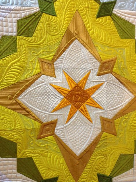 """""""Autumn's Surrender""""(detail of center), made and quilted by Margaret Solomon Gunn, 2014, silk Radiance, www.quiltsoflove.blogspot.com"""