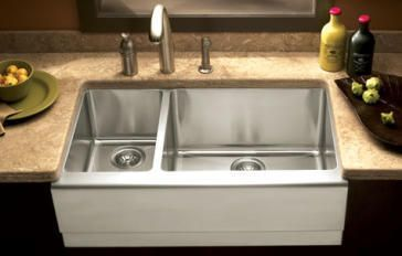 Epicure 32 7 8 Double Bowl Stainless Steel Apron Front Kitchen Sink With Small Bowl On Left Stainless Steel Farmhouse Sink Best Kitchen Sinks Apron Front Stainless Steel Kitchen Sink
