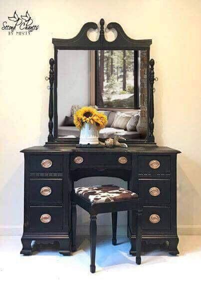 Vanity And Stool Dresser Painted Rich Black And Distressed Rustic Stools Rustic Dresser Black Painted Furniture