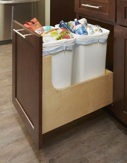 Pull Out Trash Can Cabinet Kitchen Recycling Waste Bin