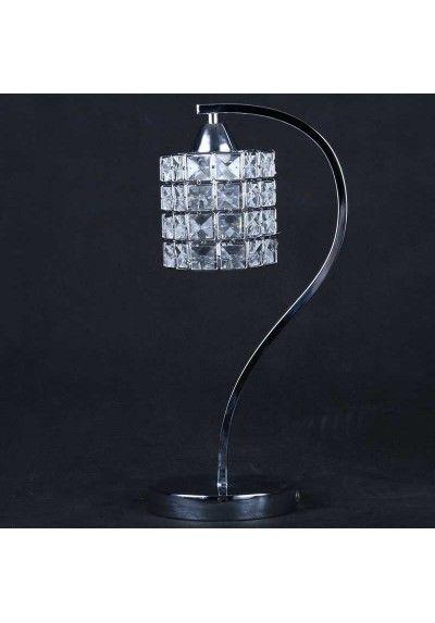 Lámpara de Sobremesa de metal cromo con tulipa de cristal.1