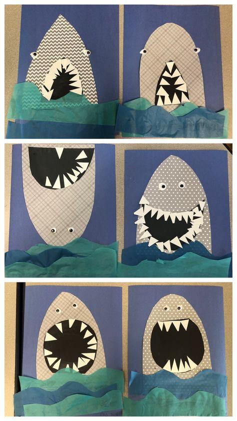 9 Animal Crafts for Preschool Shark craft shark art in the ocean unit under the sea unit preschool shark art Under The Sea Crafts, Under The Sea Theme, Animals Crossing, Shark Craft, Shark Week Crafts, Arte Van Gogh, Ocean Crafts, Ocean Themed Crafts, Beach Crafts For Kids