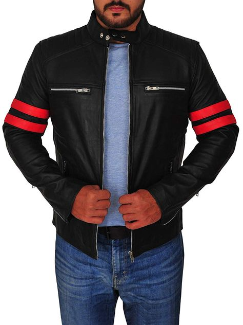 TrendHoop Men Body Fitted Black Cafe Racer Genuine Biker Leather Jacket