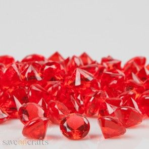 "1.5/"" Ruby Red Acrylic Diamond Hanging Gems Valentines Day DIY Craft Supply BULK"