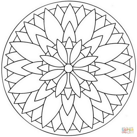 Flower Mandala Super Coloring Mandala Coloring Flower Mandala Mandala Drawing