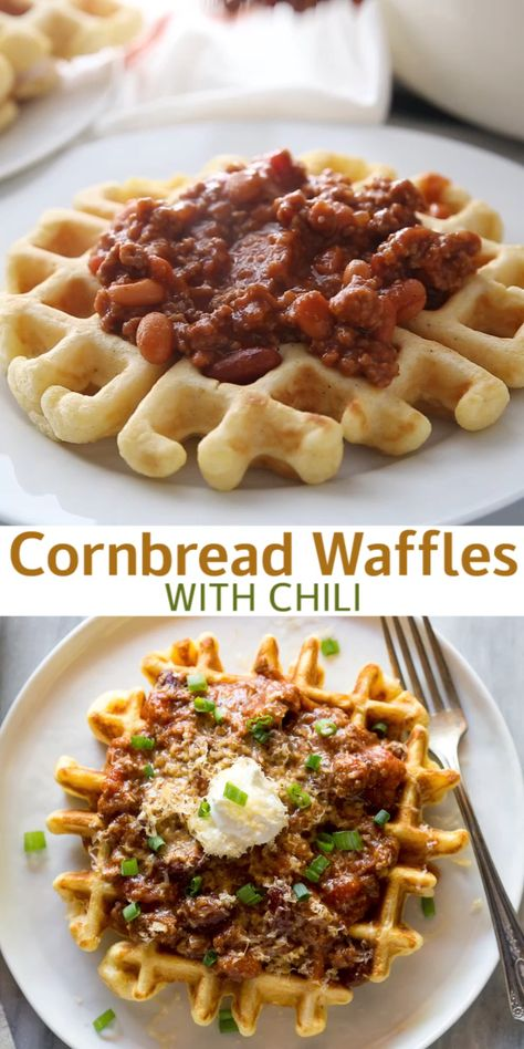 Cornbread waffles are homemade, savory waffles made with basic pantry ingredients.  We love to serve them with chili on top for an easy weeknight meal!