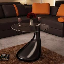 vidaXL Beistelltisch mit runder Glasplatte Couchtisch Glas Tisch Hochglanz Wei/ß