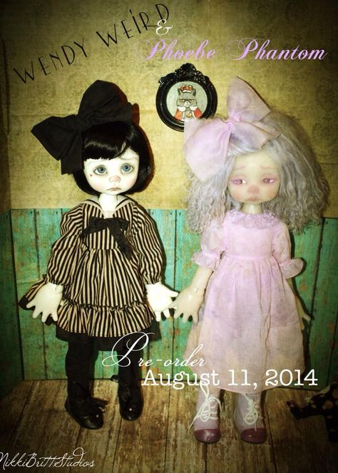 Nikki Britt Studio's Wendy Weird and Phoebe Phantom   Pre-order opens Monday August 11, 2014! http://www.littlefairytailsbjds.weebly.com/   © Wendy Weird, Phoebe Phantom, characters, names, and related indicia copyright of NikkiBrittStudios and Brittani LimaOsorio 2014