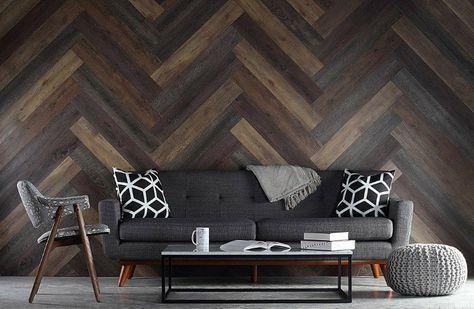 Wandgestaltung Mit Fischgratmuster Holz An Den Wanden In Moderner