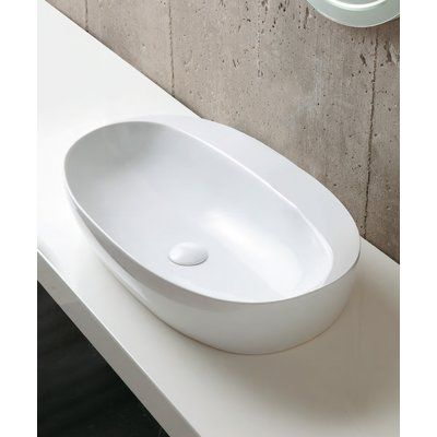 Azzurra Ceramica Elegance Ceramic Oval Vessel Bathroom Sink Sink