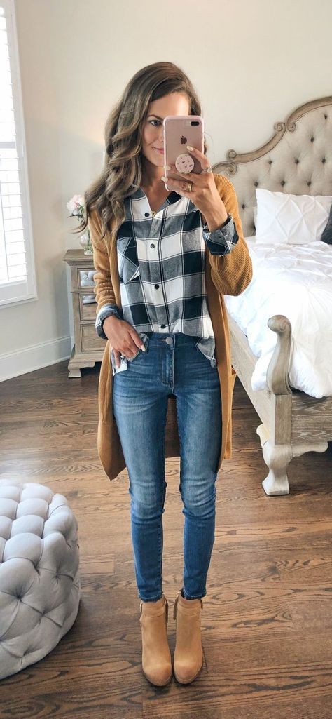 cozy fall outfit in plaid button down with camel color long cardigan and jeans