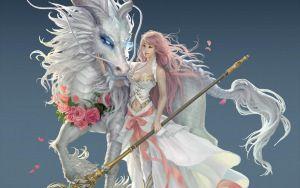Preview Wallpaper Girl Dragon Horse Magic Staff ศ ลปะแฟนตาซ