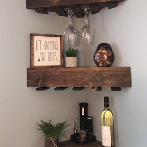 Rustic Wood Wine Rack Wine Rack Corner Wine Rack Floating Etsy In 2020 Wine Rack Wall Corner Wine Rack Wood Wine Racks