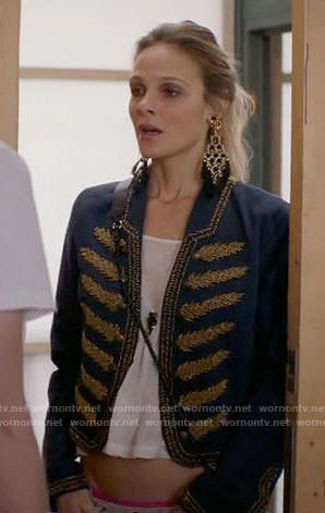 Phoebe Wells Fashion on Girlfriends Guide to Divorce | Beau Garrett | Phoebe's blue jacket with gold embroidery and black tassel earrings on Girlfriends Guide to Divorce