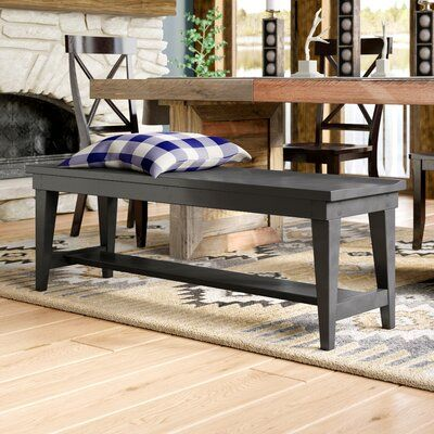 Charlton Home Warkentin Wood Bench Color Black Furniture Upholstered Storage Bench Wood Bench