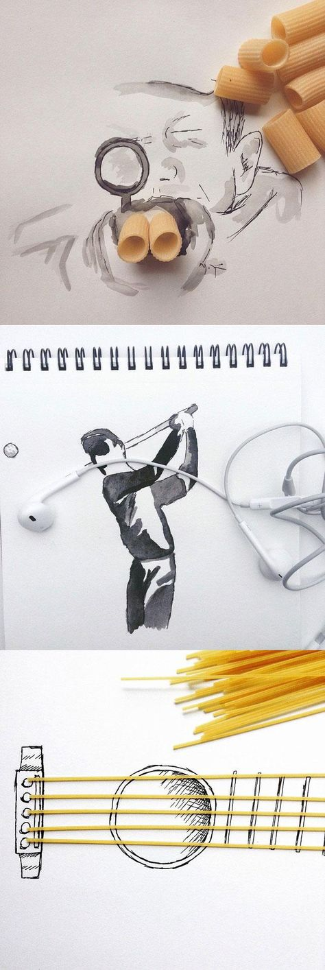 Instagram user Kristián Mensa finds the beauty in everyday objects and creatively incorporates them into his drawings.