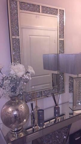 Diamond Crush Brick Mirror Mirrored, Home Sparkle Furniture