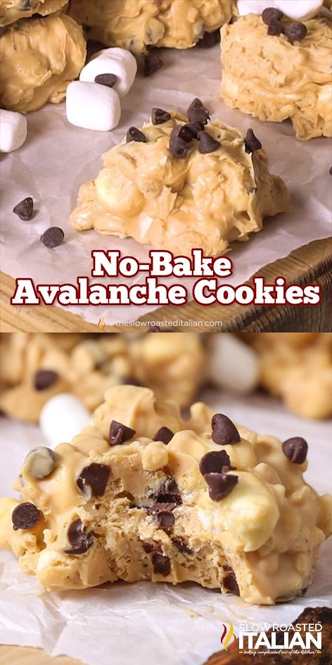 No-Bake Avalanche Cookies are a simple make-at-home copycat recipe with just 5 ingredients. Have you ever had the pleasure of enjoying the Avalanche Bark at Rocky Mountain Chocolate Factory? Imagine creamy peanut butter fudge speckled with Rice Krispies, fluffy marshmallows and chocolate chips. #nobake #copycatrecipes