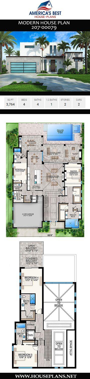 House Plan 207 00079 Modern Plan 3 764 Square Feet 4 Bedrooms 4 5 Bathrooms Modern Architecture House Modern House Plan House Plans