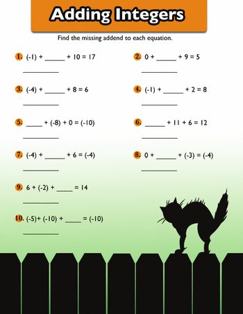 Adding Positive And Negative Numbers 6 Worksheet Education Com Math Integers Halloween Math Activities Negative Numbers