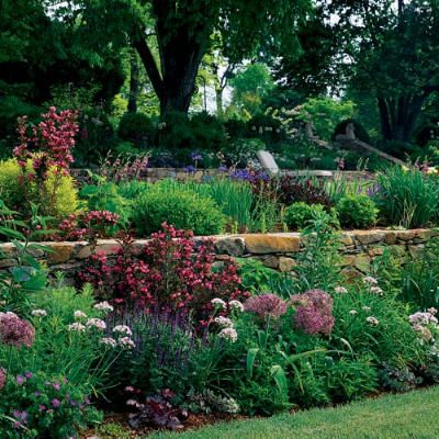 Terraced English gardens with actual stone walls