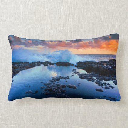Tropical Rocky Beach Sunset Sea Wave Lumbar Pillow Zazzle Com Sunset Sea Sea Waves Beach Sunset