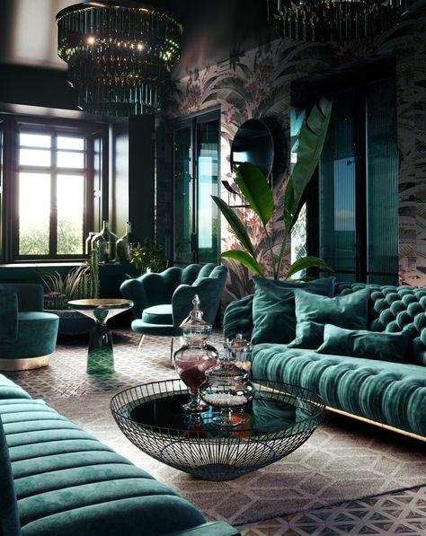 Home Room Design, Home Office Design, Home Interior Design, House Design, Contemporary Interior Design, Art Deco Living Room, Living Room Designs, Casa Art Deco, Green Rooms