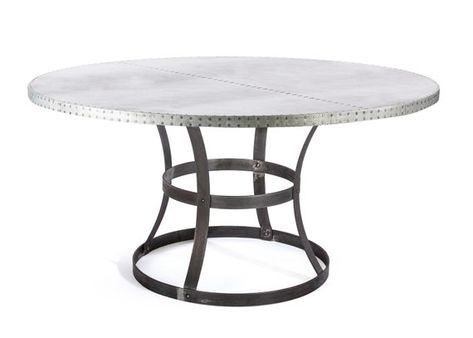 zinc top round dining table industrial farmhouse madera steel ring zinc top dining table round