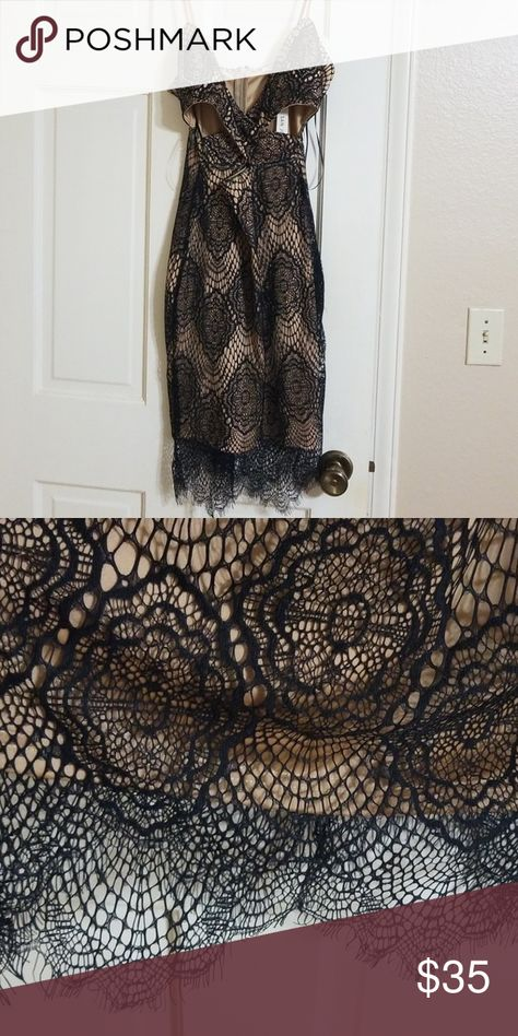 Lace black and nude dress NWT Gorgeous never been worn dress! Nude with a black lace overlay. Cutouts on the side and on the front. San Joy Dresses Midi