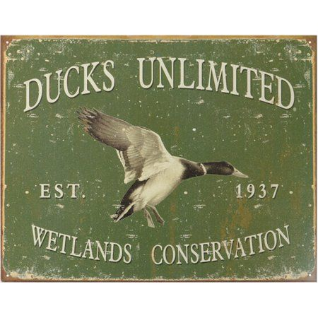 Retro Metal Sign Advertising Ducks Unlimited Hunting Lodge Gift for Duck Hunter