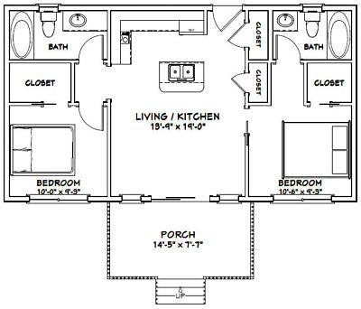 36x20 House 2 Bedroom 2 Bath 720 Sq Ft Pdf Floor Plan Model 2a Cottage Floor Plans Cabin Floor Plans Small House Floor Plans