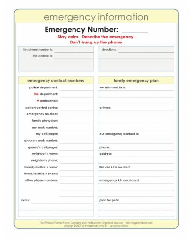 Printable emergency contact sheet Fill in your important - contact information template
