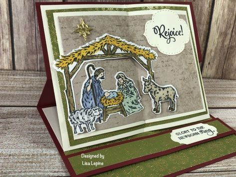 WOW Team Holiday Card Swap 2020 - Create Something Beautiful! Prim Christmas, Christmas Nativity, Christmas Crafts, Father Christmas, Easel Cards, 3d Cards, Religious Christmas Cards, Make Your Own Card, Christmas Catalogs