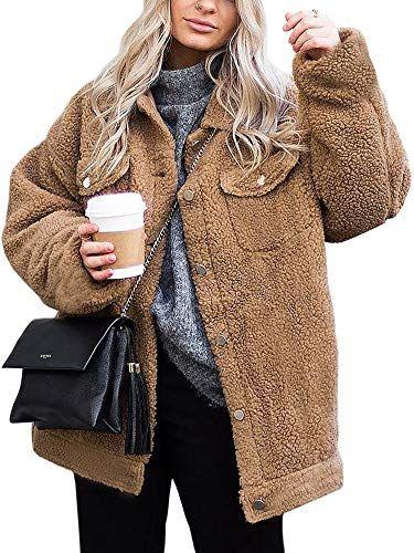 ECOWISH Women's Coat Casual Fleece Fuzzy Faux Shearling Button Down Winter Outwear Jackets  #clothing #fashion #cheapdeals