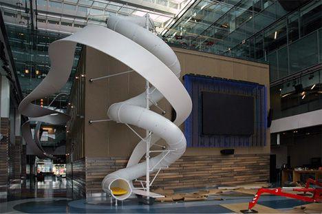 The tubular white slide inside Corus Entertainments impressive