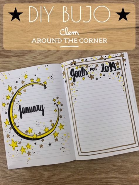 DIY do it yourself monthly cover january bullet journal goals for 2019 winter do it your way habit tracker cover page home new year calligraphie stars  clem #clematc