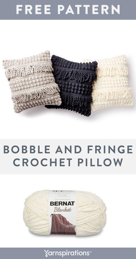 Bernat Bobble and Fringe Crochet Pillow, White Crochet Home, Crochet Crafts, Crochet Yarn, Crochet Projects, Crotchet, Modern Crochet, Crochet Cushion Cover, Crochet Cushions, Crochet Pillow Covers