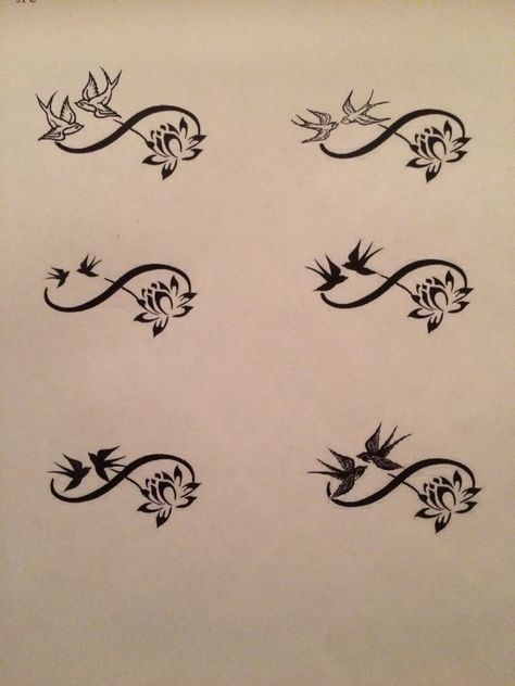 Infinity sign adorned with swallows and lotus flower tattoo design ideas