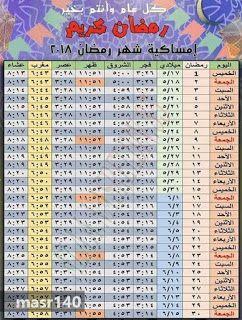 امساكية رمضان 2018 1439 في ليبيا Ramadan 10 Things Periodic Table