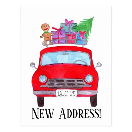 Car Christmas Gift 2020 Address Announcement Red Car Christmas Gifts Postcard | Zazzle.