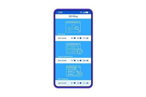 SEO blogging app interface