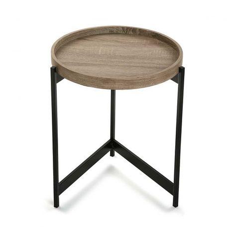 bout de canape table de chevet plateau rond en bois et trepied en metal noir d40xh50cm pier import