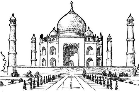 Picture Of Taj Mahal Southern View Coloring Page Netart En 2020