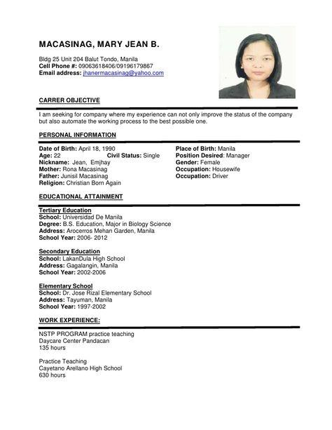 Sample Of Resume Format For Job Application Sample Resume
