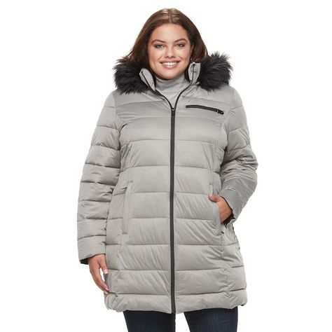 Women Plus Size Fur Collar Hooded Quilted Padded Winter Coat WetLook Jacket Warm